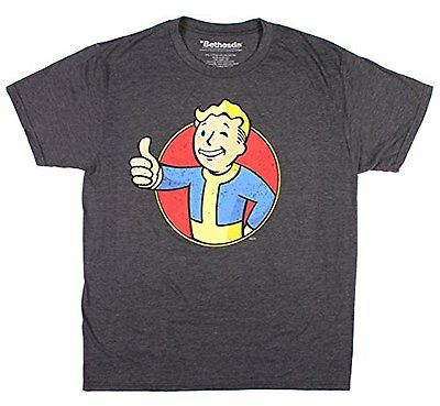 Fallout Boy Character Red Circle Charcoal Heather Men's T-shirt New