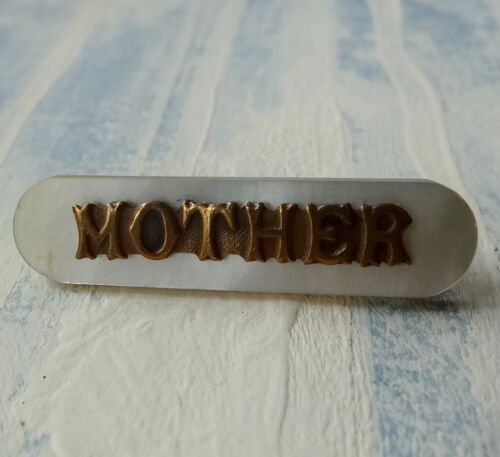 antique Edwardian mother of pearl MOTHER name brooch c pin -X56