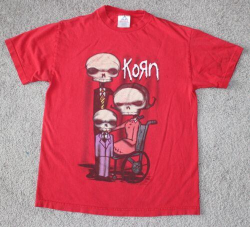 vtg KORN Band Tee 2001 Munk Design Skeleton SKULL Red Men