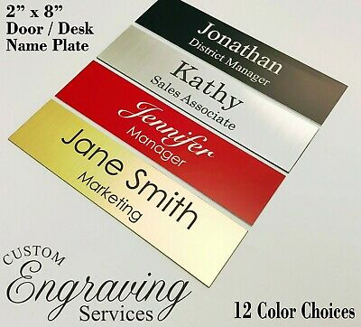 Name Plate Office Desk Door Stall Plate 2x8 Sign Plaque - Premium Quality