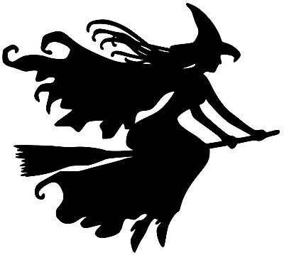 WITCH on BROOMSTICK Vinyl Decal Sticker - Witchcraft Halloween Wicca - Witchcraft On Halloween