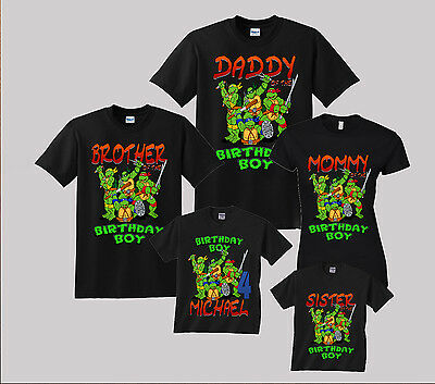 TMNT Ninja Turtles Birthday Shirt Personalized Custom Family Black t-shirt