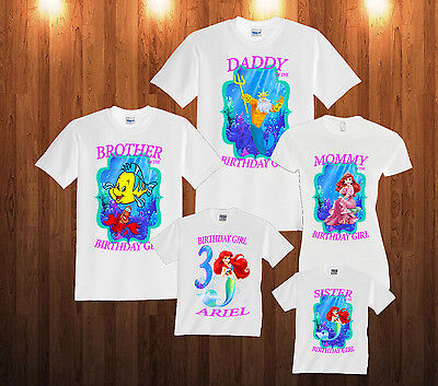 Personalized Custom The Little Mermaid Ariel Birthday T-Shirt Family Shirts  L2](Little Mermaid Custom)