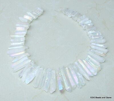 Clear AB Titanium Quartz Crystal Points Strand Raw Rough Pendant Beads - Ab Crystal Pendant Beads