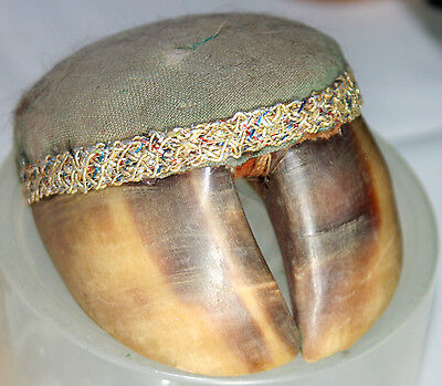 ANIMAL HOOF pin CUSHION ORIGINAL REAL,SEWING PIECE WOW!!! ANTIQUE c1800