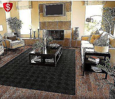 5 x 7 Modern Black Diamond Area Rug Stain Resistang Carpet Living Room Mat Decor