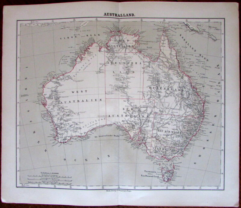 Australia continent many early routes & dates 1874 Flemming detailed old map