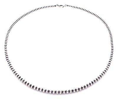 """24"""" Navajo Pearls Sterling Silver 4mm Beads Necklace"""