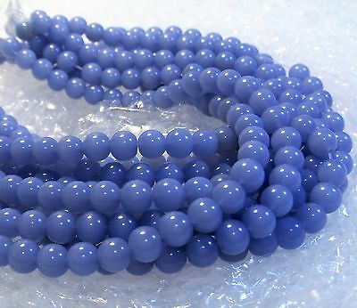 JEWELRY MAKING LOT~8mm NEW OPAQUE PALE LIGHT BLUE GLASS BEADS~44 INCHES TOTAL