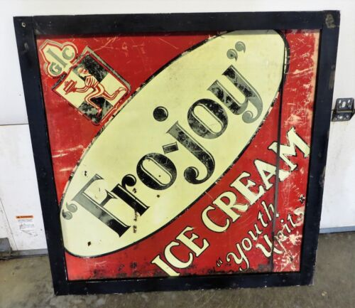 "RARE 1920s? FRO-JOY ICE CREAM ""YOUTH UNITS"" METAL SIGN - BABE RUTH CONNECTION"