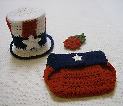 Newborn Baby July 4th Uncle Sam Top Hat and Diaper Cover-Hand Crochet-Photo Prop](Top Hat Prop)