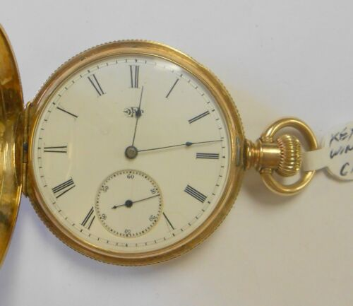 Antique Elgin 14K Yellow Gold Hunting Case Pocket Watch # 1451457 Key Wind Etch
