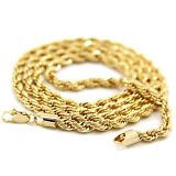 Mens 14k Yellow Gold Plated 24in Rope Chain Necklace 4 MM