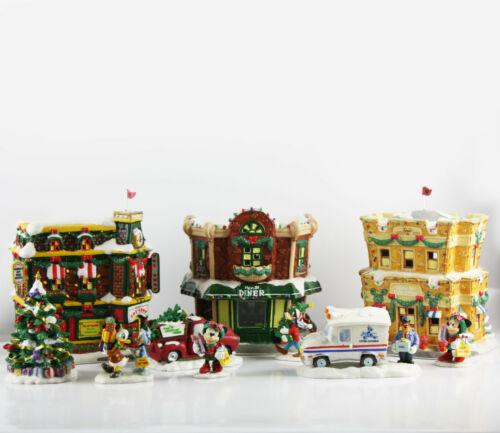 Vintage DISNEY Lighted Porcelain MICKEY MAIN STREET Christmas VILLAGE
