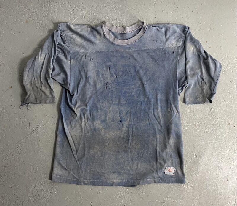 VINTAGE 70s CHAMPION DYED FOOTBALL JERSEY COTTON POLYESTER MADE IN USA