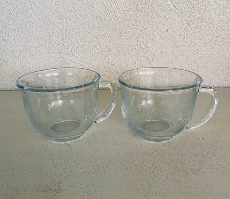 Set of 2 Princess House Crystal heritage Cappuccino Coffee Tea Mugs Cups  #580