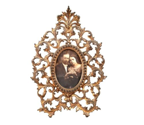 Ornate Victorian Cast Metal Gold Gilt Easel Style Picture Frame Oval Foliage