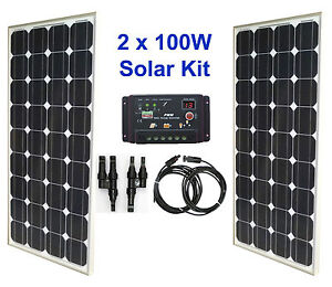 200w 2x 100w solar panel kit panneau solaire charge. Black Bedroom Furniture Sets. Home Design Ideas