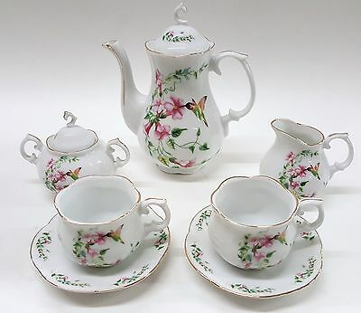 - PETITE HUMMINGBIRD FLOWERS PORCELAIN TEA SET TEAPOT SUGAR BOWL CREAMER 2 TEACUPS