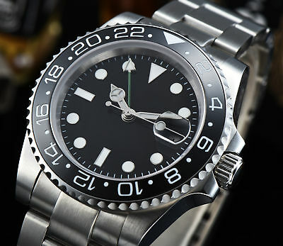 4ca925a80aa 40mm PARNIS black dial Sapphire glass Ceramic bezel GMT automatic mens watch