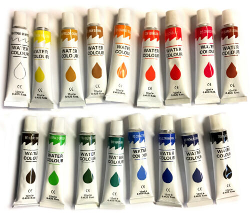 17 PC WATERCOLOR Paint Set Professional Artist Painting Pigment Tubes 12ml