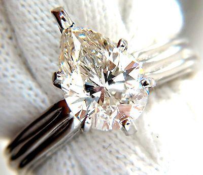 GIA 2.00ct. Pear Brilliant diamond ring I / Si-1 Solitaire Class Platinum +