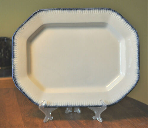 Antique Pearlware Blue Feather Edge Leeds Style Platter Staffordshire 14""