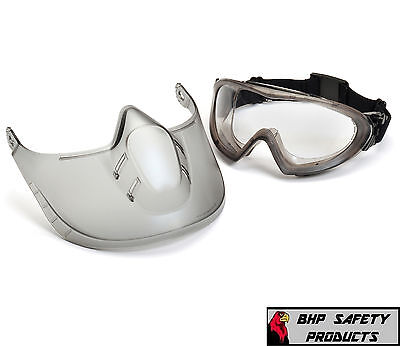 LAB SAFETY GOGGLE WITH ADJUSTABLE FACESHIELD PYRAMEX CAPSTONE GG504TSHIELD