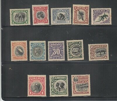 Liberia # 101-13 MINT Complete Set of 1906 Fauna.