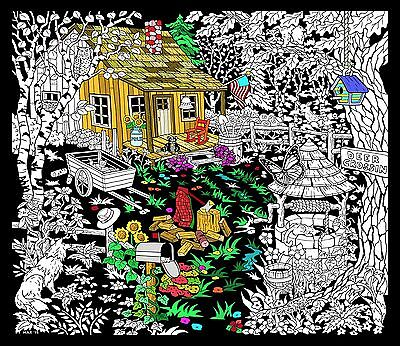 Cabin Well - Large 23x20 Inch Fuzzy Velvet Coloring - Velvet Coloring Posters