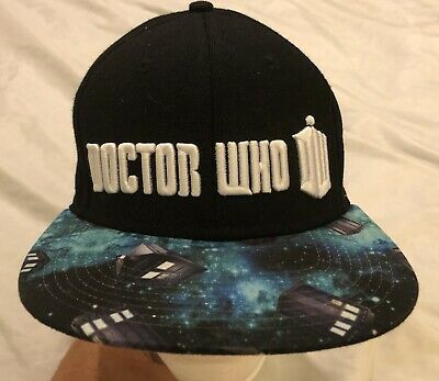 Doctor Who Logo Black Cap Hat Tardis Universe Outer Space Raised Lettering Dr