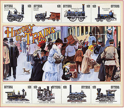 Guyana 1994 MNH Trains 8v M/S III Railways Locomotives Steam Engines Züge Stamps