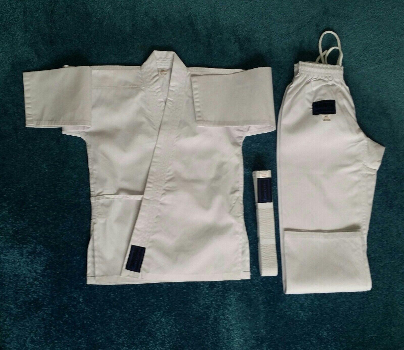 Karate Anzug 100% Baumwolle weiß für Kinder,Erwachsene & Jugend Gr. 90-200 cm