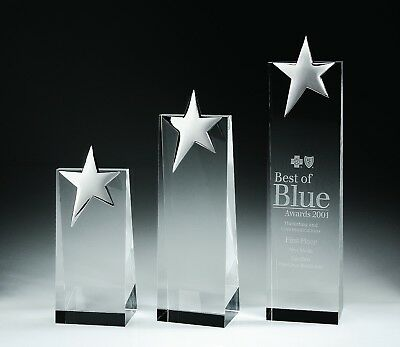 TOP STAR Crystal Awards Trophy Small - Free Personalized, Presentation Box (Star Awards)
