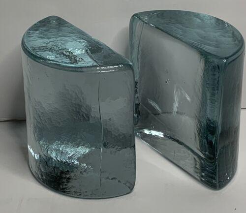 Vintage Blenko Art Glass Half Moon Clear Bookends Mid Century Modern Beautiful - $79.99