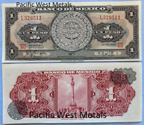 1970 Mexico Banknote 1 Peso UNC CRISP Paper Money Aztec Calendar Independence