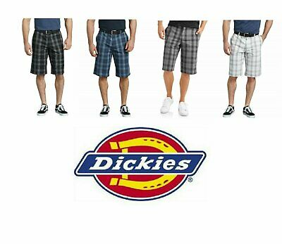"""Dickies Shorts 13"""" Mens Work Shorts Plaid Flex Relaxed Fit M"""