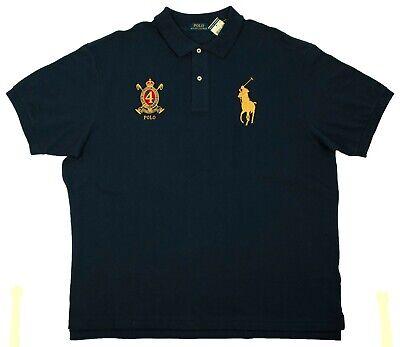 Polo Ralph Lauren Big Tall Men's Mesh Navy Blue Shirt Gold Big Pony Multisize (Navy Polo Ralph Lauren)