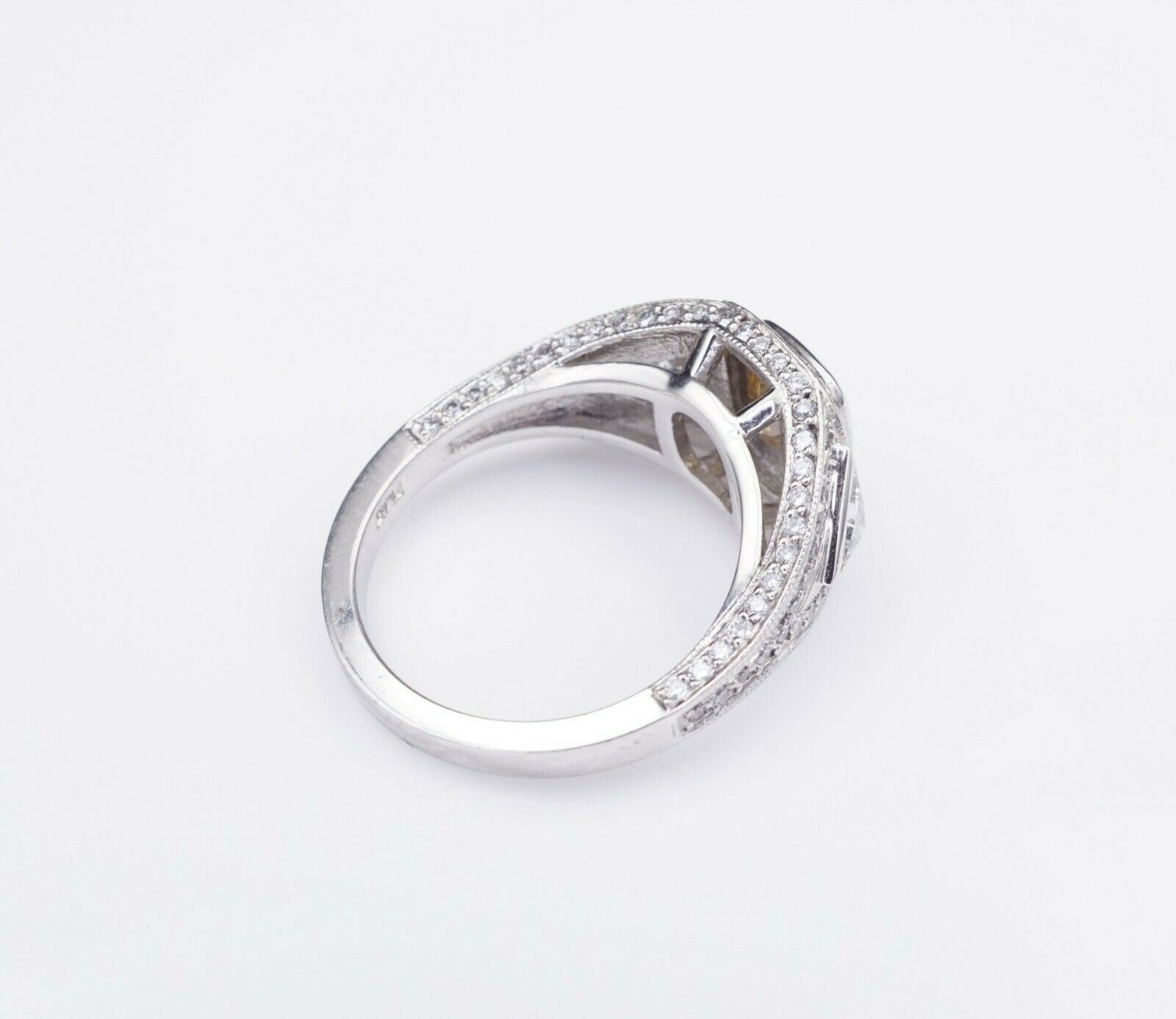 Platinum 3ct Orange-Yellow Diamond Halo Engagement Ring Size 6.75 GIA CO450 4