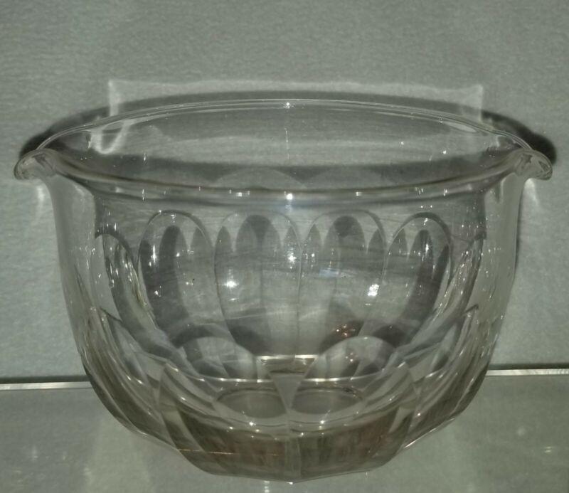Mid 19th C. Clear Blown Flint Glass Wine Rinser Faceted Petal Cut Decoration