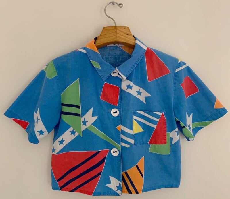 RARE Vtg TATTOO by Tommy Hilfiger Women Top Shirt Sz M Blue Multi Short Sleeve