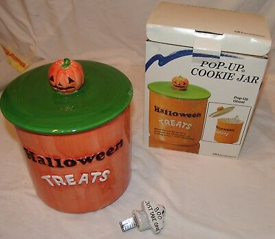 Halloween Treats GHA Pop Up Ghost Cookie Jar New Earthenware NIB
