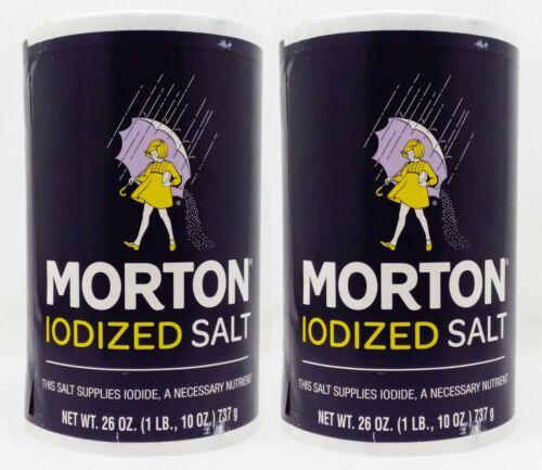 2 Morton IODIZED SALT Supplies Iodine, A Necessary Nutrient 26 OZ ea