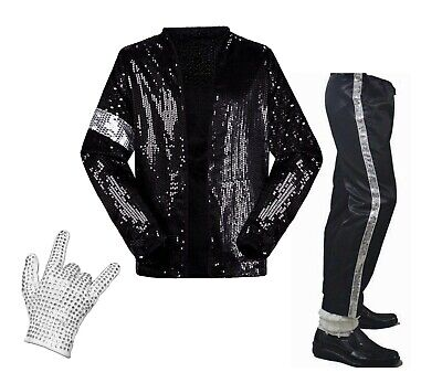 vestito Michael Jackson Billie Jean costume abito completo bambini giacca guanto