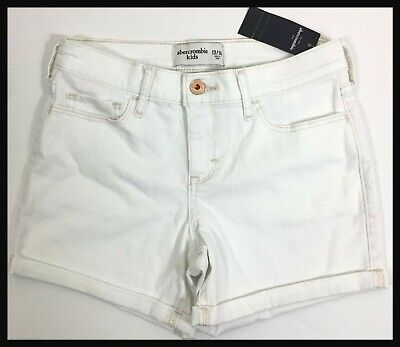 Abercrombie Kids Girls Size 13 14 White Midi Shorts Cuffed NWT