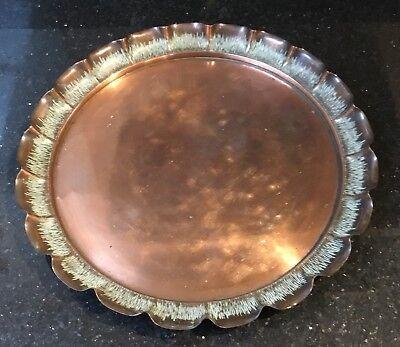 "Antique Joseph Sankey (No Mark) Art Nouveau Copper Tray Pie Crust Edge 11.75"" Joseph Joseph Pie"