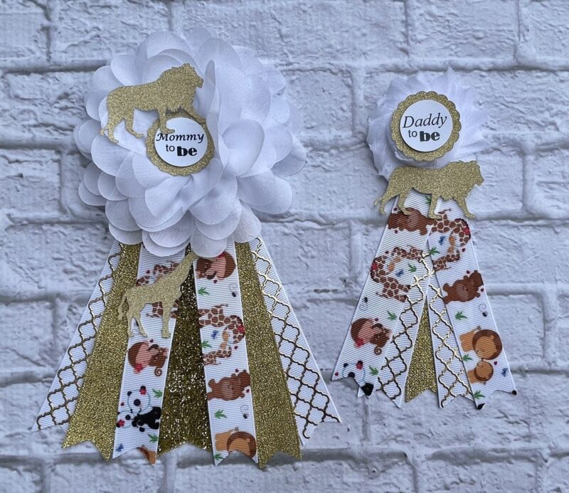 White /Gold Safari Jungle Baby Shower Corsage ,Mommy To Be /Daddy To Be Corsage