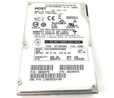 HUC109090CSS600 HGST 900GB 10K 6GBPS SAS 2.5'' HARD DRIVE