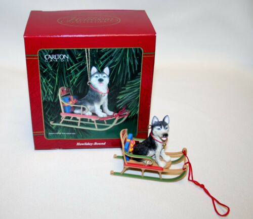 Carlton Cards Ornament Howliday-Bound Siberian Husky on Sled