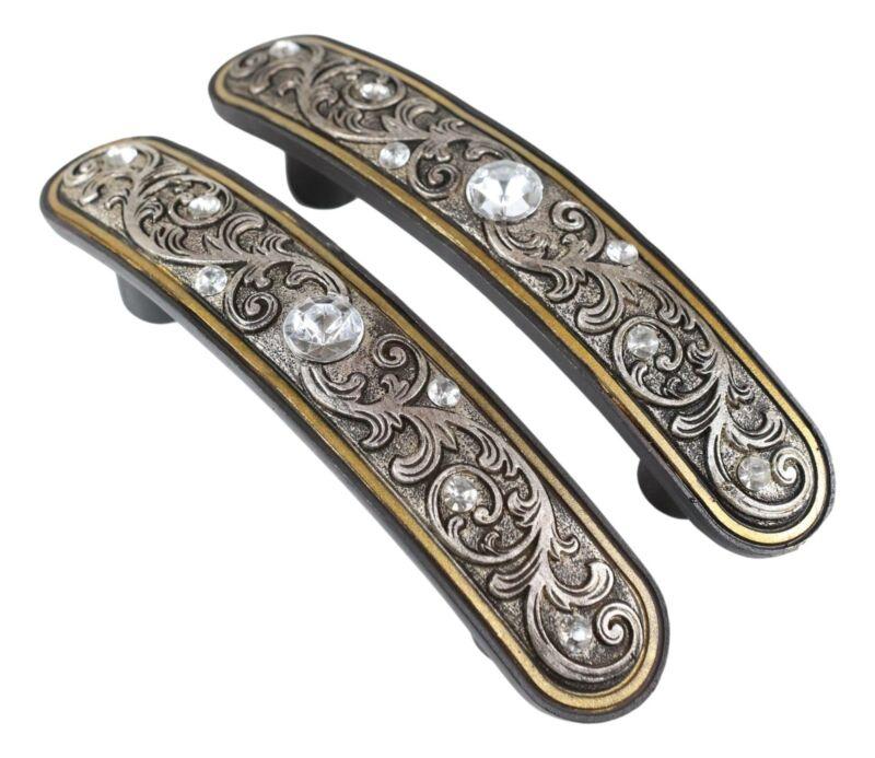 Set Of 12 Western Floral Filigree Lace Silver Bling Drawer Cabinet Bar Pulls